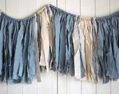 SALE. Blue & Cream Mini Garland. Boys Room Decor. Baby Shower Decorations. Fabric Banner. Nursery Decor. Nursery Garland. Garland Backdrop.