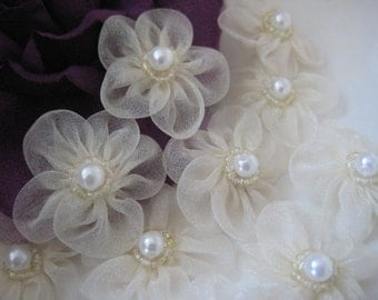 Ivory Organza Flowers Pearl Center Appliques for Pricess Dresses, Sewing, Crafting, Doll Clothes, Doll Shoes, 1.5 inch / 38 mm, 12 pcs