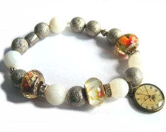 Beaded Stretch Bracelet - Antique Bronze Clock Bracelet - White Quartz Beads