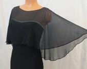 FILM NOIR vintage silk chiffon blouse - Helft's - rhinestone - black bat cape - sz S