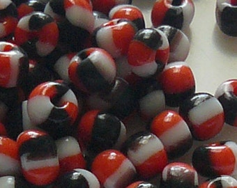 6/0 Red, Black, and White Glass Seep Beads Item #SM60B