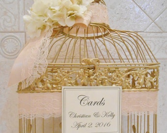 Large Gold Birdcage Wedding Card Holder / Wedding Card Box / Gold Birdcage / Card Holder