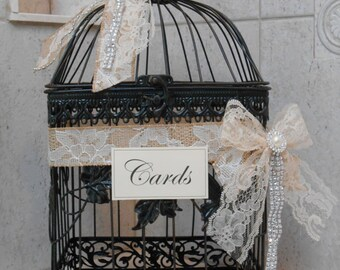 Wedding Birdcage Card Holder / Wedding Card Box / Wedding Decor / Table Decor / Rustic Wedding / Lace Wedding / Burlap Wedding