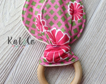Bright pink flowers  Organic bunny ear teether ring toy with crinkle material.  Ready to ship.
