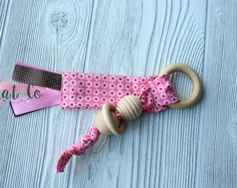 Ready to ship Natural maple teething ring in pink flowers  fabric.  Can be personalized.