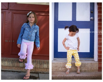2 pairs of triple ruffle capri leggings, ready to ship.  Pink and white stripe and yellow dot.  Sizes 12 months to 12 years.