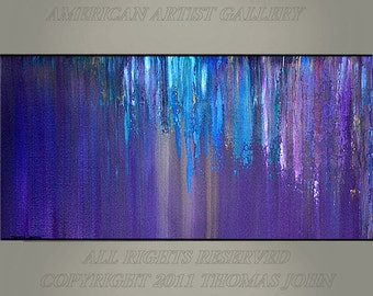 ORIGINAL PAINTING  Abstract Large 24X60X2 Impasto Waterfall Art  By Thomas John