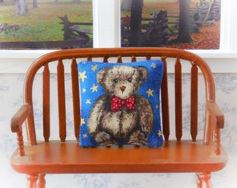 "Dollhouse Miniature Decorator pillow ""Grey Bear with Red Bowtie"" - 1:12 scale"