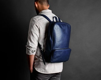 Leather backpack, leather rucksack, laptop backpack // MANGART (Blue)