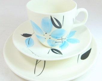 SALE! Art Deco Sky Blue Trio, Artistic Barker Bros Handpainted Blue and Black Flower China Cup Saucer & Teaplate Set 1940s