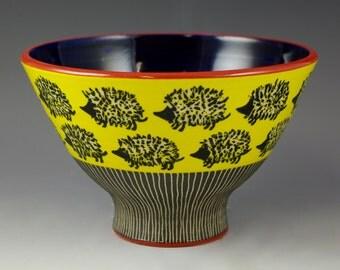 Ceramic Bowl Handmade Pottery – Hedgehogs All Over