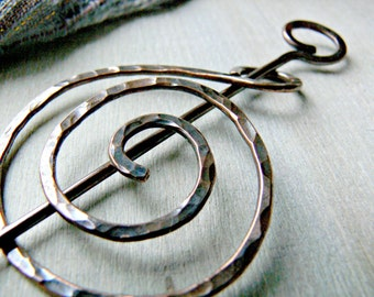 Copper Shawl Pin - Celtic Scarf pin - Christmas Gift - Cloak Pin - Celtic Copper Brooch - Gift for Her - Copper Jewellery - Copper Gifts