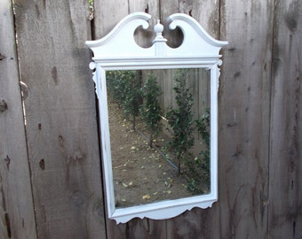 Large White Shabby Chic Mirror Up Cycled Antique Carved Wood Rustic Distressed Wall Hanging Country Farmhouse Romantic Cottage Home Decor