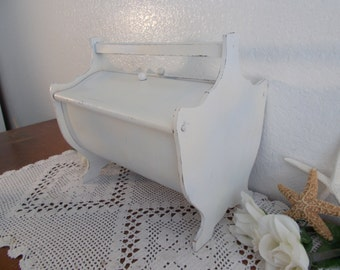 Antique White Shabby Chic Sewing Tote Caddy Box Basket Up Cycled Vintage Carved Mahogany Wood Hinged Flip Top Lids Country Farmhouse Cottage