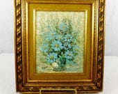 Vintage oil painting  blue flowers on board with avocado and gold frame