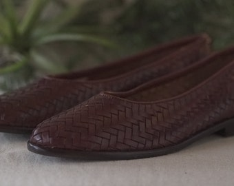 Brown Leather Woven Flats, Women's Size 5.5