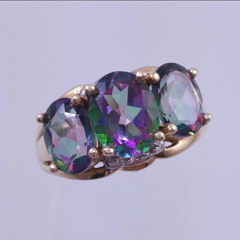 10k mystic topaz ring 3 gemstone ring accent