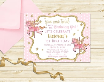 Carousel Birthday Invitation Carousel First Birthday