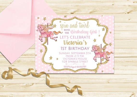 Pretty Carousel Birthday Invitation, Carousel Party Invitation, Pink and Gold Carousel Invitation, Printable First Birthday Carousel Invite