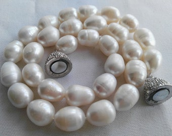 freshwater pearl necklace, big pearl necklace, 11-13 mm white pearl necklace, magnet clasp -US E-packet shipping service 7-15 days delivery
