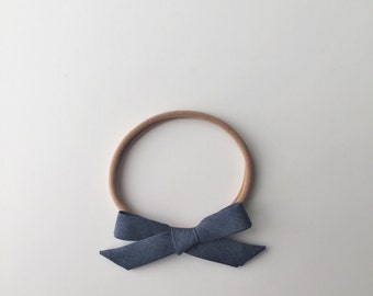 Denim Blue Classic Tied Bow Headband or Clip