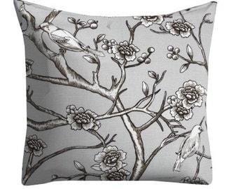 decorative pillows, bird pillows, neutral pillows, grey couch pillow, floral pillows, dwell studio pillows, grey throw pillows, chair pillow
