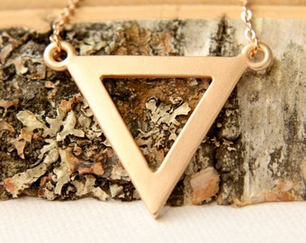 Triangle Necklace, Available in Matte Rose Gold, Matte Gold and Matte Silver