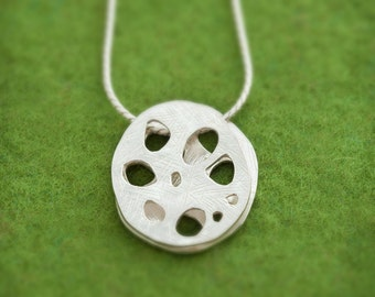 Silver Lotus Root pendant - Asian vegetable - Vegetable jewelry - hypoallergenic - free shipping