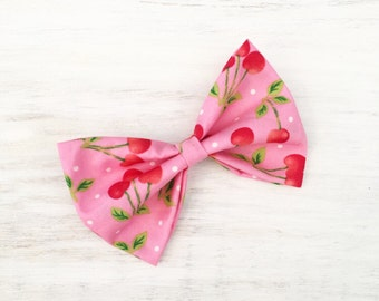 Pink with red cherry print medium hair bow