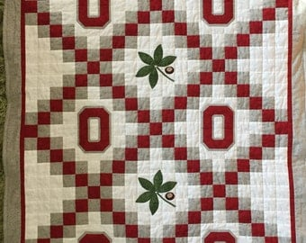 Ohio State Buckeyes OSU Quilt Crib Size Reserved for Hannah