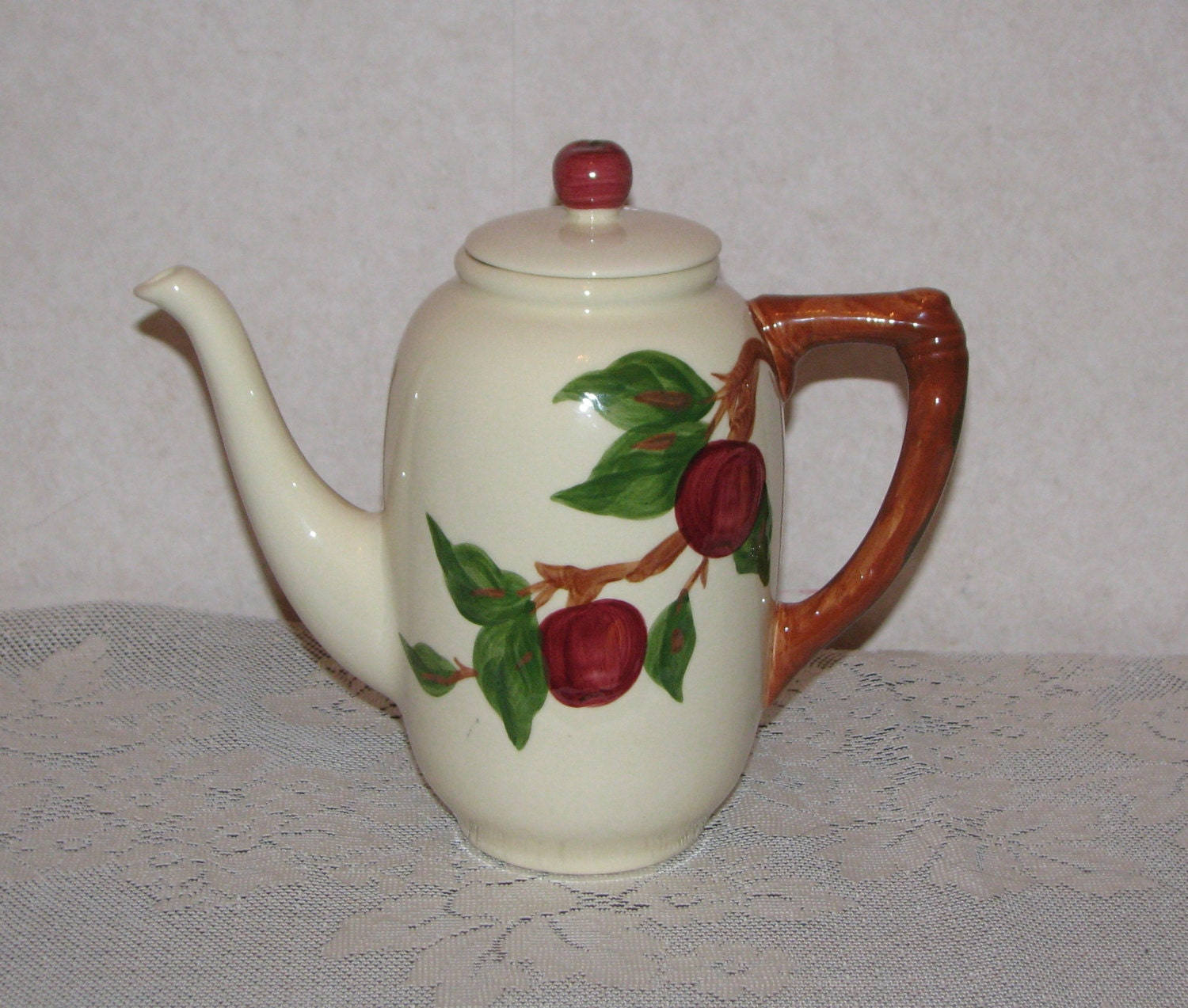 Apple Coffee Maker ~ Franciscan apple coffee pot and lid usa