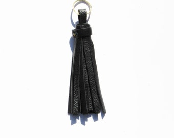 Handmade Black Leather Tassel Keychain