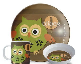 Personalized Owl Melamine Plate Set, Boy's Owl Melamine Plate, Bowl, Mug Set, Personalized Woodland Birthday Cake Plate Set
