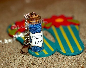 Beach Bottle Necklace, Chillin' Time Necklace with a barefoot Charm, Time to Relax, Beach Jewelry, Hang 10 Necklace