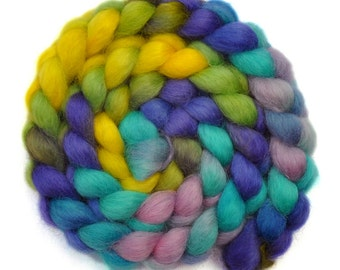 Hand dyed spinning fiber - Wensleydale wool combed top roving - 4.1 ounces - Box of Sequins