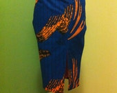 Fully lined African print midi pencil skirt with front slit (blue)