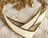 Retro Vintage Cream Colored Enameled Metal Necklace Choker