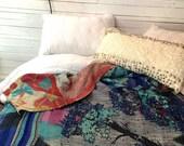 Kantha Quilt, Boho Bedding, Vintage, Sari Quilt, Bohemian Bedding, Indian Blanket, Turquoise