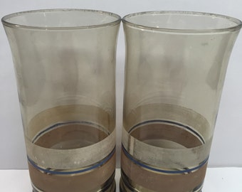 2 Libbey Glass Tumblers Smoked Glass