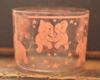 Vintage Pink Elephant Ice Bucket, Dish Hazel Atlas, Dancing pink elephants