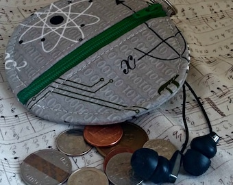 Earbuds Holder - Geek Coin Purse - Science - Math- Key Ring - Detachable - Small Gift - Fully Lined - OOAK - Custom Made