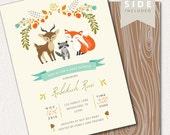 Woodland Baby Shower Invitation Printable - Woodland Baby Shower Invites with Fox, Deer, Raccoor - Gender Neutral, Boy, Girl