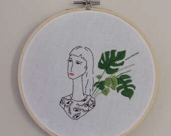Hand embroidery, interior decoration,illustrator, Monstera, eyes