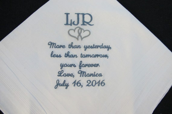 Wedding Handkerchief for the Groom from his Bride