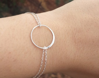 Karma bracelet,Circle,Eternity love circle,Sisterhood,Sterling Silver,friendship bracelet,Wedding jewelry,Bridesmaid gifts