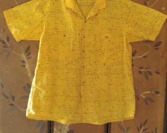 80s Bright yellow and black speckled shirt by Generra