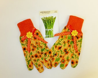 sunflower garden gloves orange polka dot womenu0027s gardening gloves