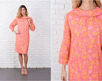 Pink Psychedelic Floral Print Dress Vintage 60s A Sheer Sleeve Yellow Flower M L 8330