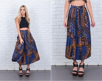 Vintage 80s Blue + Brown Abstract Geo Print Skirt Pleated High Waist Midi XXS 6675