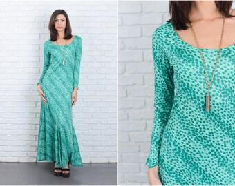 Vintage 70s Green Mod Dress Geometric Maxi long sleeve Small S 6822 vintage dress 70s dress green dress mod dress geometric dress maxi dress